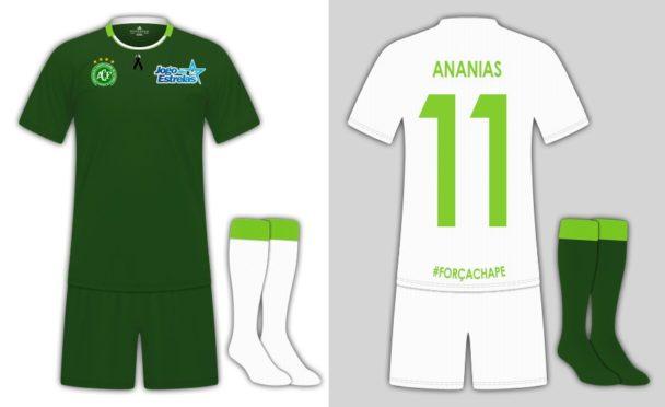 Jogo das estrelas ter uniforme verde e branco com escudo for Terrace uniform